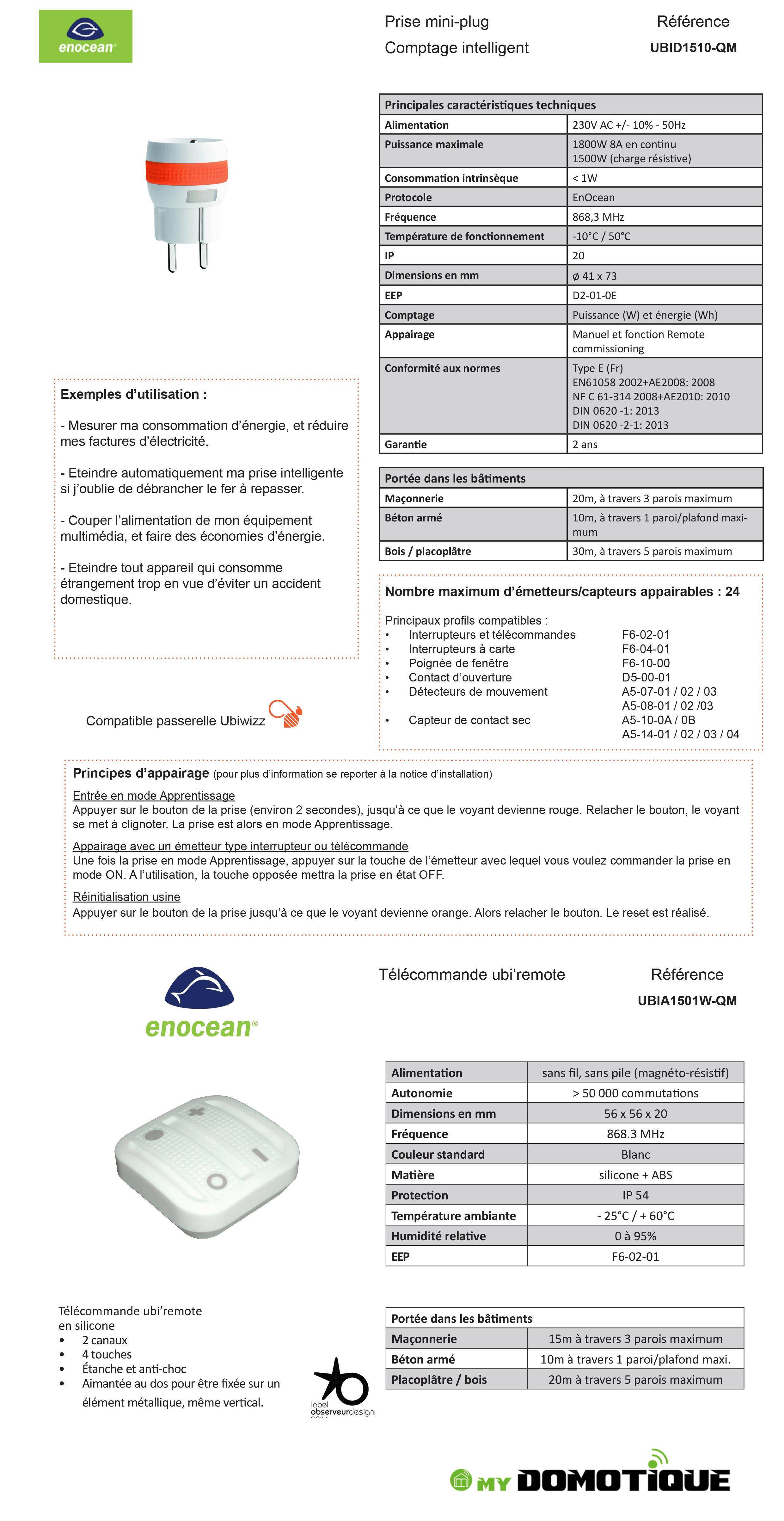Prise mimi-plug Comptage intelligent UBID1510-QM Télécommande ubiremote UBIA1501W-QM.PNG